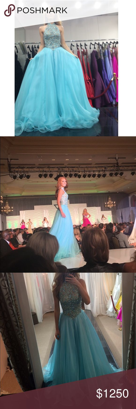 Sherri Hill Couture dress! Beautiful couture gown worn in the Miss Texas Teen Pageant 2017. Only ever worn the weekend of the pageant. It has had a few alterations to raise the skirt but they were minor, and it also has bra pads inserted in. In the onstage picture I am wearing 4 inch heels. Absolutely stunning on and off stage!! Not up for trade, but willing to negotiate on the price:) Sherri Hill Dresses Prom