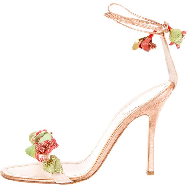 Rene Caovilla Lizard-Trimmed Lace-Up Sandals ($325) ❤ liked on Polyvore featuring shoes, sandals, pink, laced shoes, floral sandals, floral lace up shoes, lizard shoes and floral print shoes