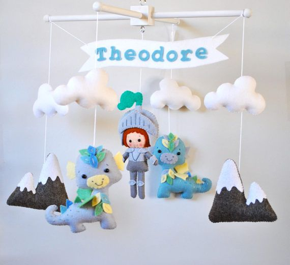 Baby mobile Knight Dragons Nursery mobile Clouds Mountains Crib Cot mobile Baby boy hanging mobile Personalized name banner Baby shower gift 100 % wool felt