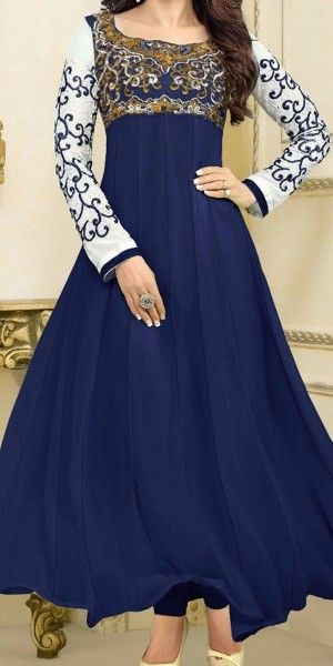 Superf Navy Blue Silk Anarkali Suit With Dupatta.
