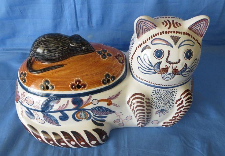 Vintage Portugal Hand Painted Porcelain Cat Mouse Potpourri Scent Jar Signed | eBay