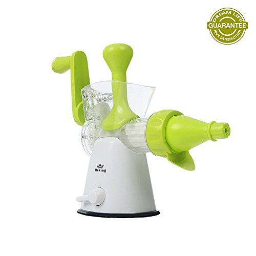 Raking� 2 in 1 Plastic Manual Juicer - Strong Suction Single Auger Hand Crank Wheatgrass Juicer and Ice Cream Maker