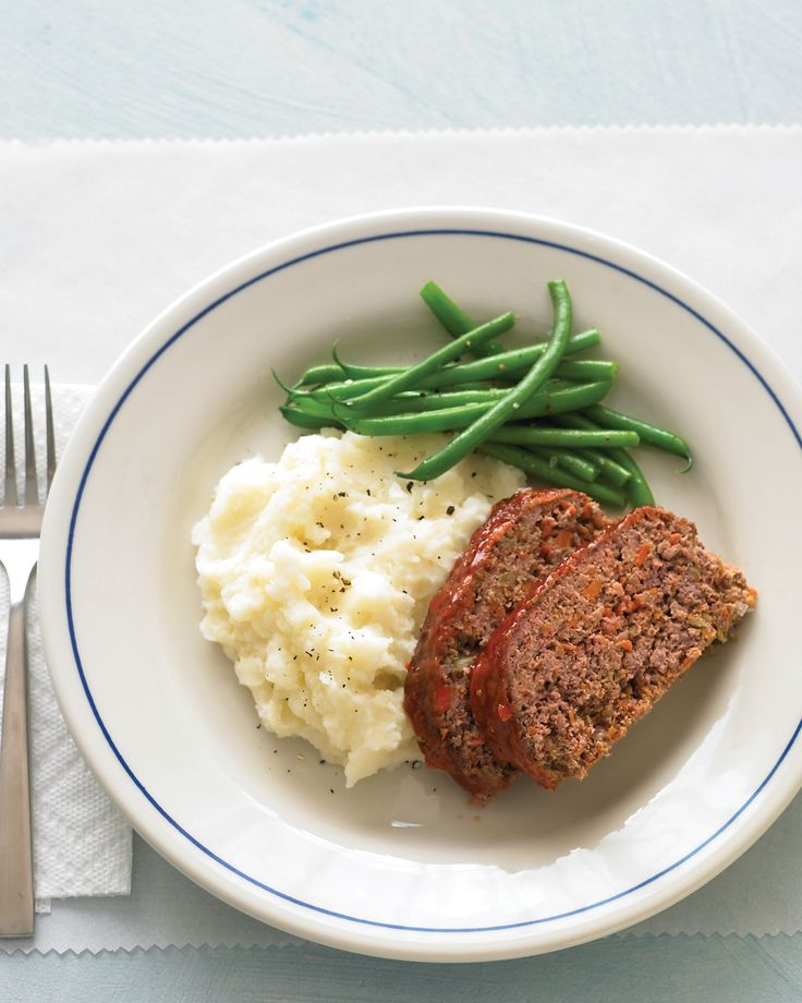 Meatloaf and Buttermilk Mashed Potatoes | Martha Stewart Living - Our comforting menu of meatloaf and buttermilk mashed potatoes is as hearty as the diner original -- but better for you. Panko is sold in many international aisles; regular breadcrumbs can be swapped in, too.