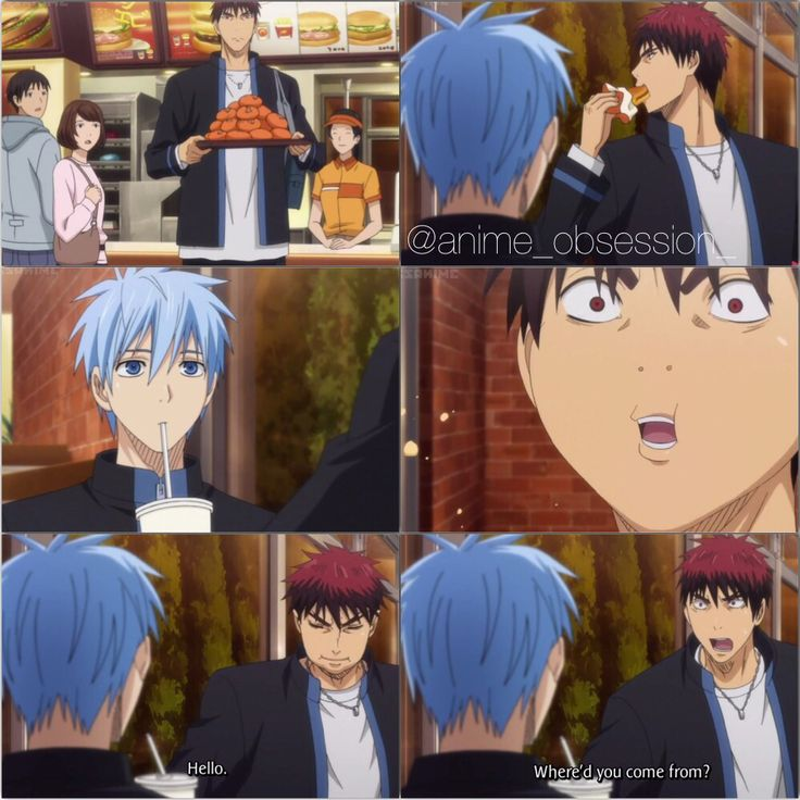 First off. Why does Kagami have so many burgers.. AND THEN THE FACE HE MAKES WHEN HE ACTUALLY SEES KUROKO XD [[Episode 1. Collage by @anime_obsession_]]