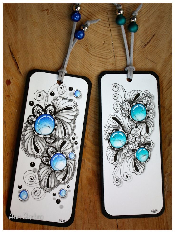 ZIA Bookmarks with Gems Tangles; Printemps * Pufcookie * Scallops * Black Pearls