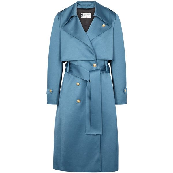 Lanvin Blue Satin Trench Coat - Size 14 ($2,585) ❤ liked on Polyvore featuring outerwear, coats, trench coats, lanvin, blue trenchcoat, blue trench coats and blue double breasted coat