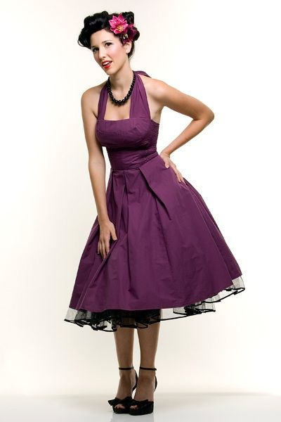 Eggplant Flirty Cotton Swing Dress - XS to 4XL - Unique ...