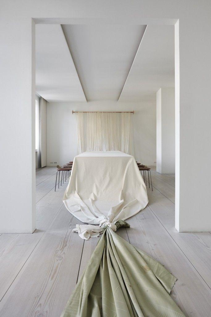 Artist Pernille Egeskov created an installation that is a beautiful interpretation of three classic Danish design brands; Georg Jensen Damask, Fritz Hansen and Dinesen.