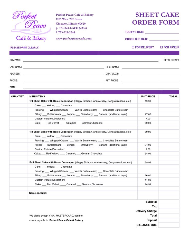 cake order form template free download - Google Search