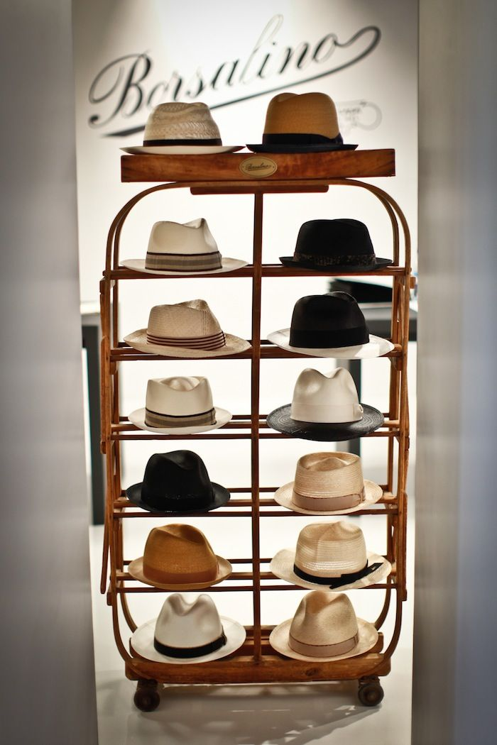 Borsalino. Love all those hats. Great hat stand too, I wish I had a couple of those to display all my hats in my closet.