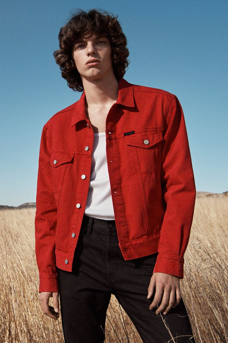 dbe535a58524b0 The statement trucker: the timeless denim jacket is reworked in a  statement-making, saturated red. #MYCALVINS
