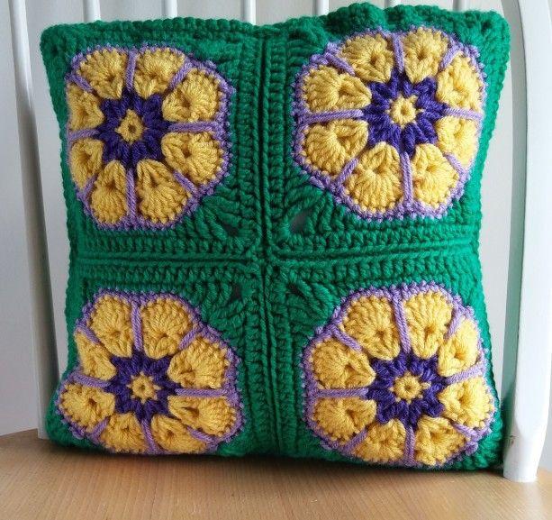 Pansy Pillow Case, Crochet Pillow Case, Cushion Cover, Green Pillow, Throw Pillow, Accent Pillow, Decorative Pillow, Pillow Sham