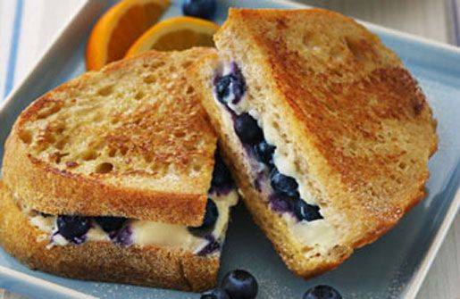 Blueberry French Toast Sandwich. We made something like this over a fire at girls camp, and it was delicious! I can imagine it being much better when you can make it with real cooking utensils!