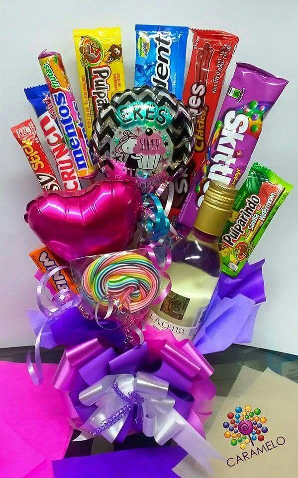 Best friend candy present, little bottle arreglo dulces con botella de vino