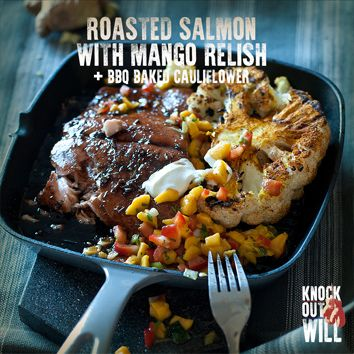 Roasted Salmon with Mango Relish + BBQ Baked Cauliflower