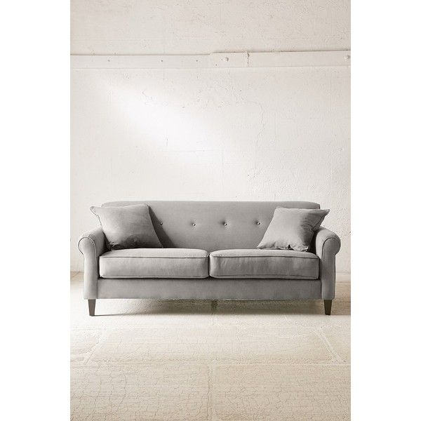 spencer microfiber sofa liked on polyvore featuring home furniture sofas grey tufted - Grey Tufted Sofa