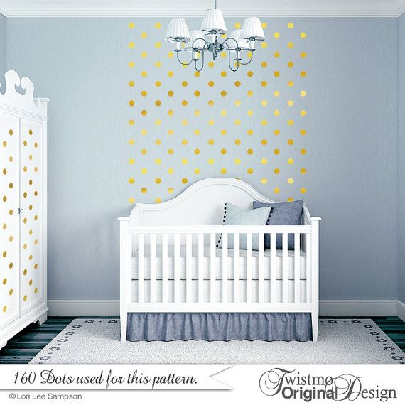 Gold Polka Dots Baby Nursery Wall Decor, Gold Dot Wall Decals, 2 inch Vinyl  Wall Dots, Peel and Stick Circles Nursery Dot Wall Pattern (r1)