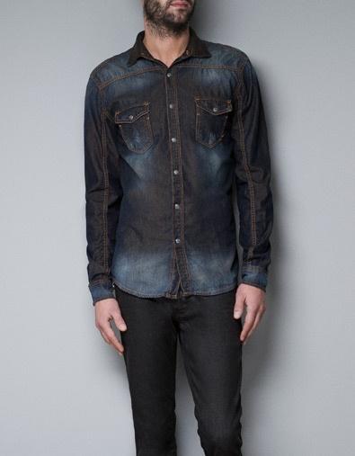 DENIM SHIRT WITH CONTRASTING LINING - Fashion - Shirts - Man - ZARA