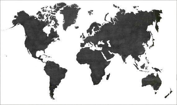 Black and White World Map Paper Poster Wall Hanging! on Etsy, $19.99