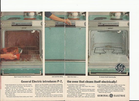 GE Self Cleaning Oven Original 1963 Vintage Print Ad Color Photo Turquoise Major Kitchen Appliance General Electric