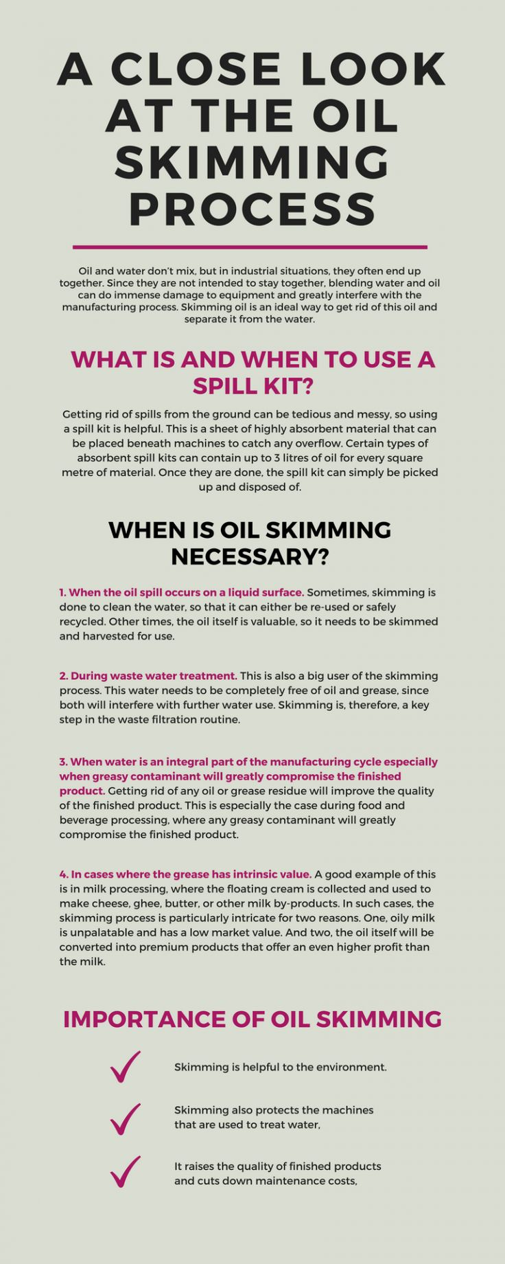 Oil is often regarded as a pollutant in the industrial processes. This is because it can damage equipment and greatly interfere in the process of manufacturing. Skimming oil is the only solution that helps in #liquidfiltration separating oil from the water. Pay a look to this Infographic to know the details.