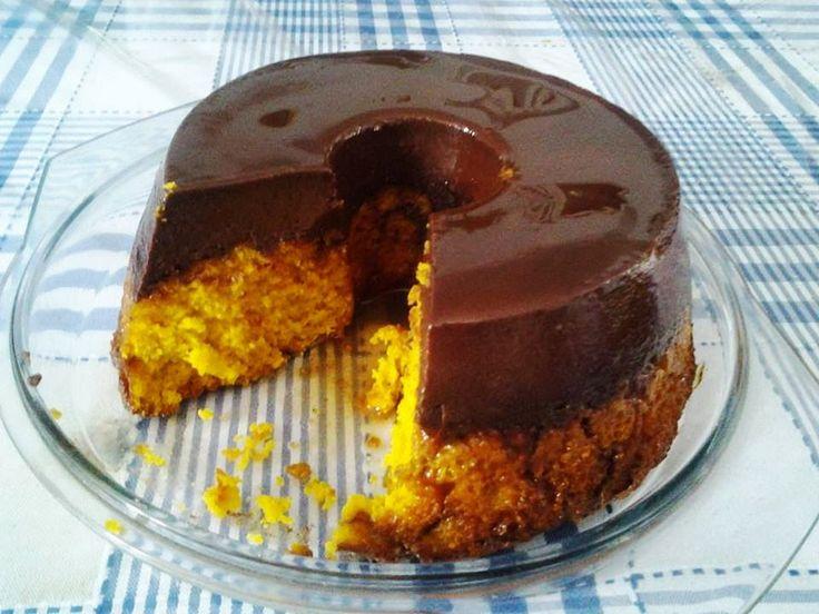 Resultado de imagem para Bolo Pudim de Chocolate e Laranja
