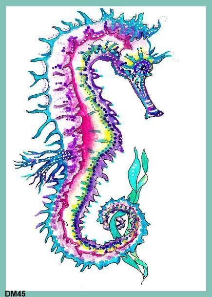 Diana Martin Seahorse Art Print Quilting by QUILTFABRICBLOCKS, $11.99