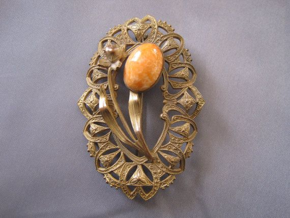 Vintage Art Nouveau Oval Coral Brooch by BetteOh on Etsy, $68.00