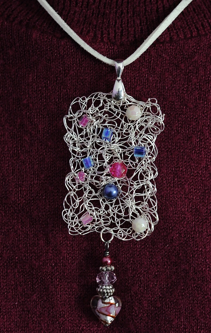 Wire Crochet Pendant, sort of free-formy/matted up type.