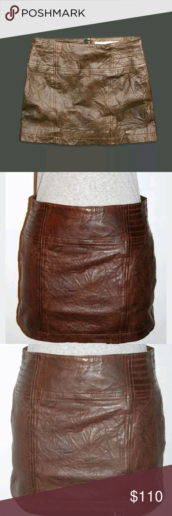 """Abercrombie and Fitch leather MALLORY mini skirt Abercrombie & Fitch """"Mallory""""   Size: 8 Color: brown 100% Supersoft Leather  Lining: 100% polyester  Vintage feel bomber leather.  Zipper and button/eye back closure, Contrast stitching, Classic Fit  Retail: $120 Abercrombie & Fitch Skirts Mini"""