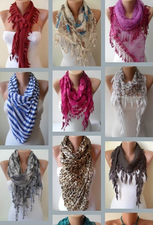 Turkish Shawls and Scarves by SwedishShop Shawls and Scarves are great for bringin attention to your face and top.  If you pair this with a neutral shirt it will give a nice accented neutral look.