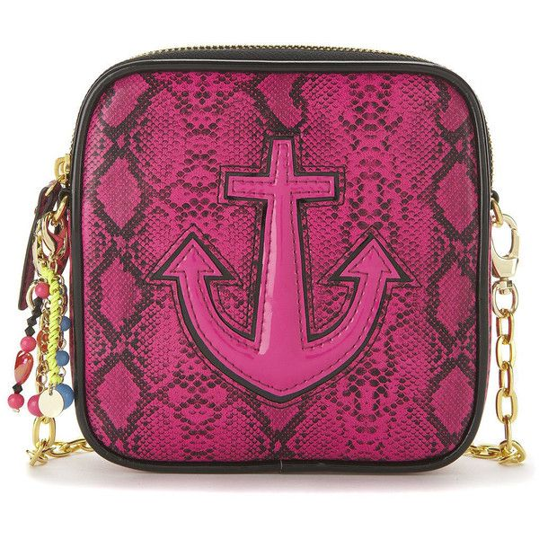 **Nancy Bag by Paul's Boutique ($36) ❤ liked on Polyvore featuring bags, handbags, shoulder bags, anchor, bright pink, python print handbag, anchor purse, pauls boutique handbags, paul's boutique and chain shoulder bag
