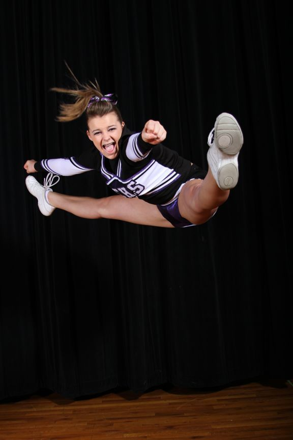 Discovery Canyon High School Cheerleader. Can you do this? The perfect jump!