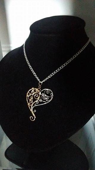 yin yang heart necklace by DevysDesigns on Etsy