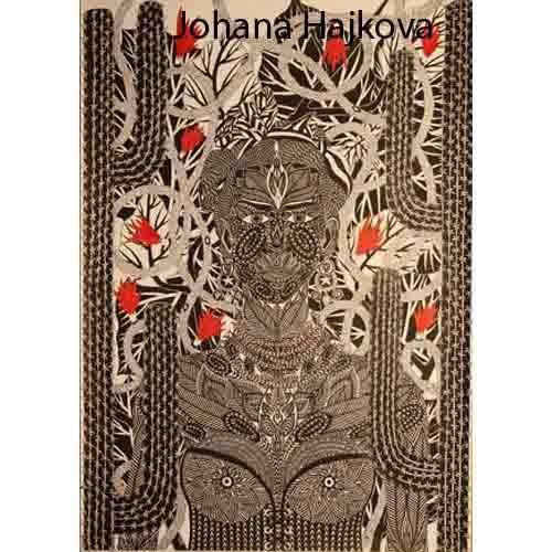 Frida Khalo Perokresba,formát A1, černá tuš Autor: Johana Hajkova