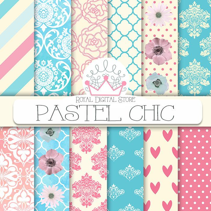 "Pastel Digital Paper: ""PASTEL CHIC "" with #pastel #patterns, pastel #background in pink, mint, blue, polka dots, damask for planners, cards #pink #mint #blue #damask #shabbychic #watercolor #planner #partysupplies #digitalpaper #scrapbookpaper #wedding #romantic #floral"
