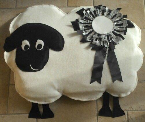 A fleece sheep for window display