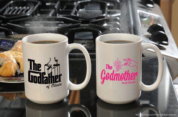 Large Custom Ceramic Coffee Mug Set Unique by GodparentBaptismGift
