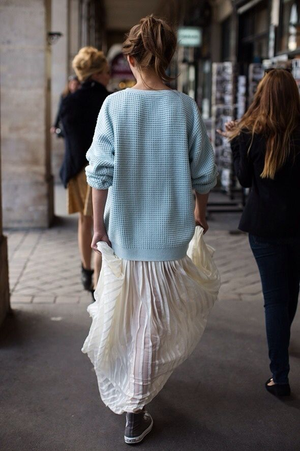 Sweater over long skirts