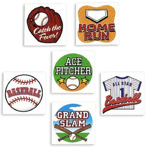"""Temporary Baseball Tattoos (6 dz) by Fun Express Toy Products. $5.25. Easy to apply and remove. 6 Dozen per set. Assorted designs. Non-toxic. 1 3/8"""". Temporary Baseball Tattoos (6 dz)Baseball tattoos let you show your team spirit! Temporary tattoos are easy on and easy off. Washable tattoos are great party favors for sports fans. Non-toxic, 1 3/8"""" tattoos help you get that double and slide into home. 6 dozen per set.Assorted designs6 Dozen per setNon-toxicEasy ..."""