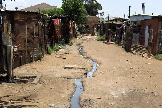 Main road into Kliptown Youth Program, Soweto, South Africa.