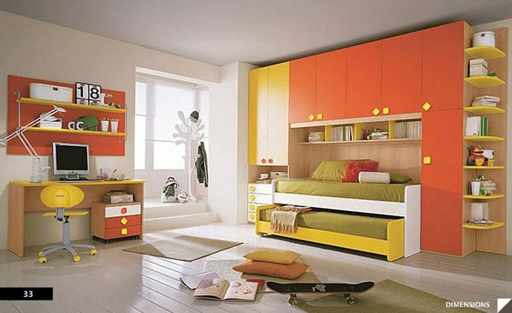 Gorgeous Decoration For Children Room Design Interior : Incredible Girls Children Bedroom Decoration Design Ideas With Brown Sheet Trundle Bed And Wall Mounted Bookshelf Also Cream Furry Rug