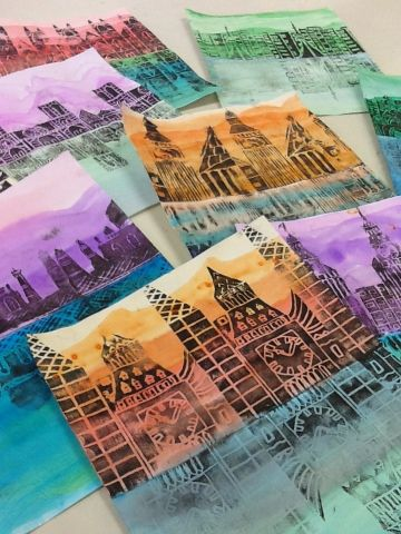 For Hundertwasser yr 7 project: Styrofoam block printing of buildings, top and bottom of the paper painted with watercolor to look like sky and water; fold it to get the reflection...