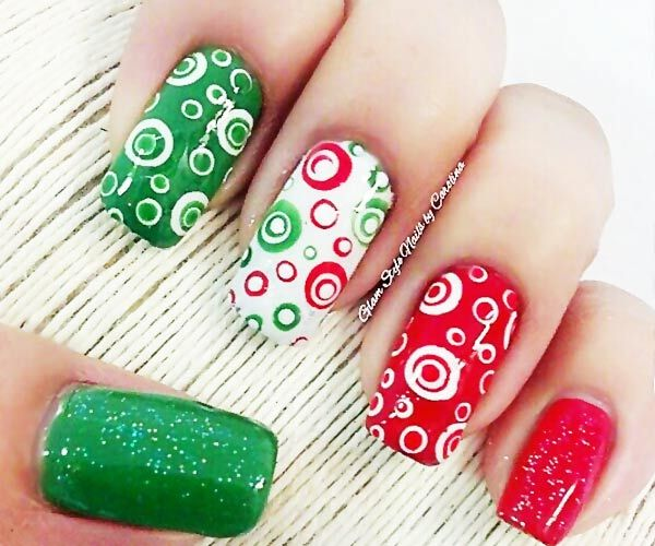red green gold nails | green red white mexico day dotted nails » Favnails