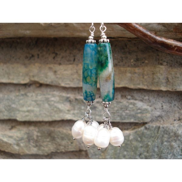 Emerald Big Agate Pearls Earrings Modern Green Agates and Pearls Long... ($29) ❤ liked on Polyvore featuring jewelry and earrings