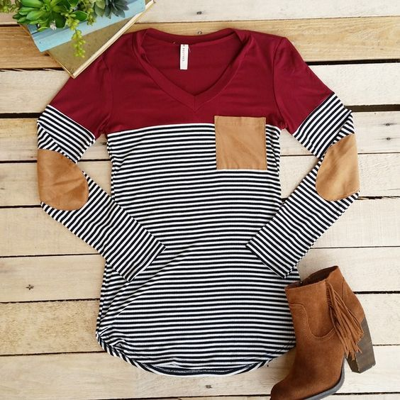 Cranberry Stripes and Suede Top: click to enlarge