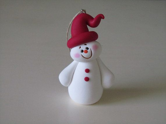 pictures+of+polymer+clay+snowmen | Polymer Clay Christmas Snowman Ornament by ClayPeeps on Etsy