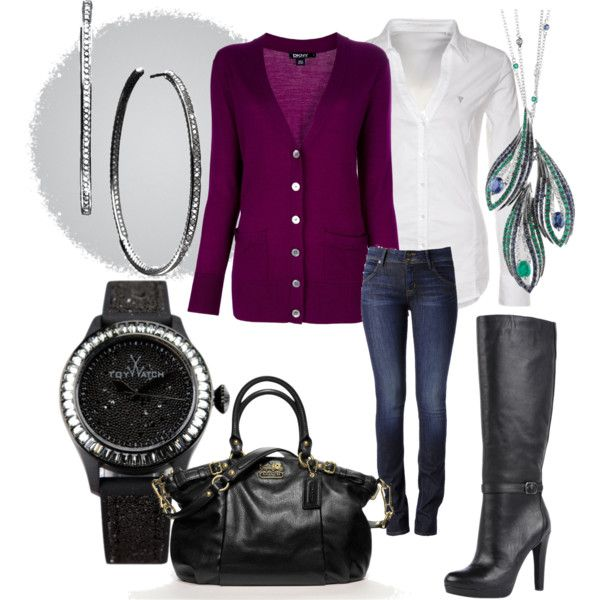 A fashion look from February 2013 featuring DKNY cardigans, GUESS blouses and Hudson Jeans jeans. Browse and shop related looks.