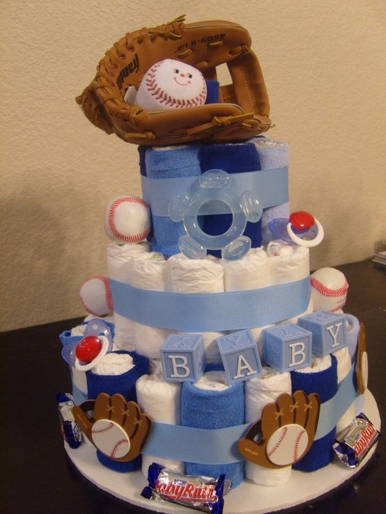 Baseball diaper cake. @Bernice Keetch Keetch Keetch Keetch Oregel, this is what I want for my future surprise boy baby shower! :) by MinnieCorona