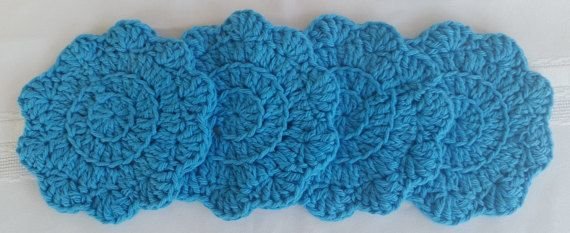 Pretty and absorbable cotton coaster set. See details at: Etsy.com/shop/GrammysCustomCrochet